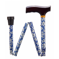 Lightweight foldable cane, blue with floral pattern